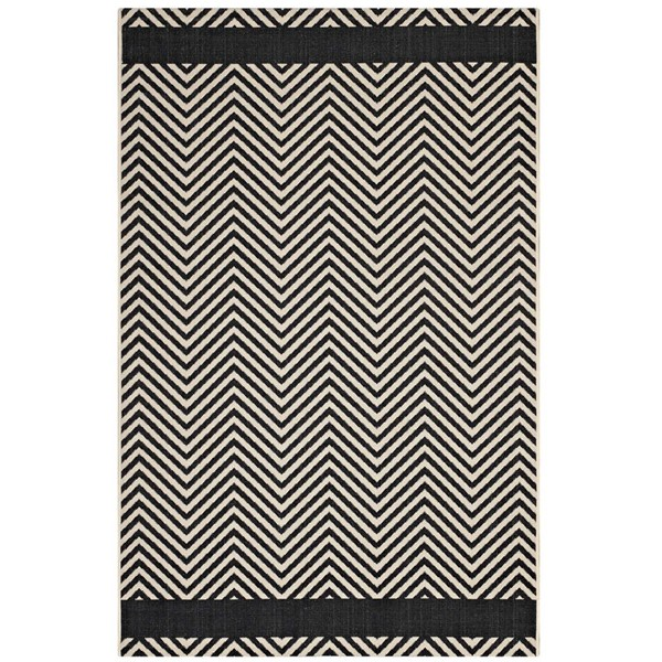 Modway Furniture Optica Black Chevron with End Borders Area Rug - 5 x 8 R-1141C-58