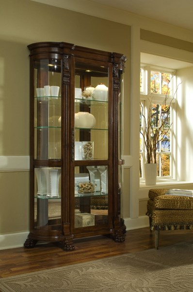 Foxcroft Brown Hardwood Curved End Mirrored Curio RH-102003