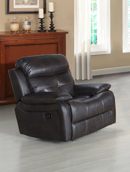 Metro Contemporary Brown Faux Leather Power Recliner RH-1131-003-122
