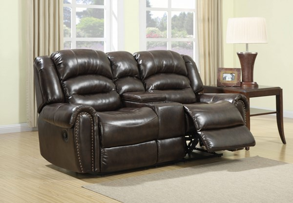 Oxford Traditional Brown Wood Steel Foam PU Console Loveseat RH-1452-301-182