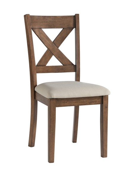 HMidea Brown Beige Upholstered X Back Dining Chair RH-176-C237-140