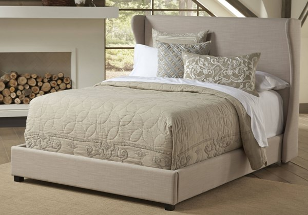 Contemporary Grey Wood Fabric Wing Queen Upholstered Bed RH-DS-1882-QB