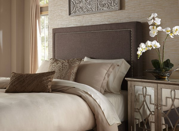 Brown Wood Fabric Square Nailhead Queen Upholstered Headboard-5/0 RH-DS-1884-250