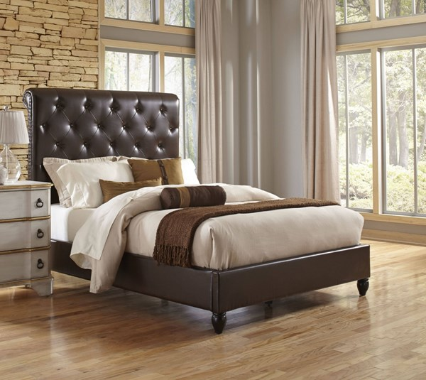 Traditional Brown Wood PU Queen Sleigh Upholstered Bed RH-DS-1886-QB