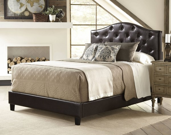 Modern Brown Wood Faux Leather Fully Upholstered Tufted Queen Bed RH-DS-1929-290