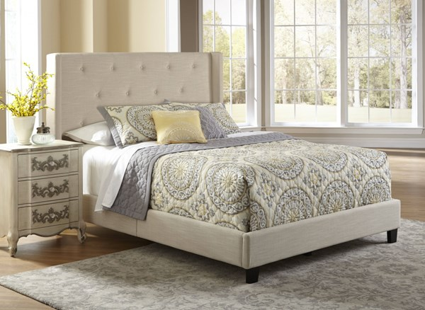 Classic Cream Fabric Hardwood Fully Upholstered Shelter Queen Bed RH-DS-1930-290