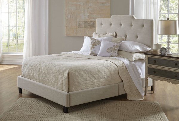 Classic White Fabric Hardwood Fully Upholstered High Back Queen Bed RH-DS-1931-290