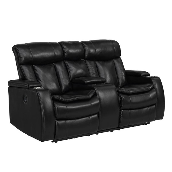 Home Meridian Galaxy Black Power Loveseat with Console RH-2093-303-083