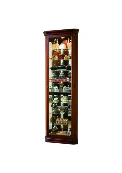 Traditional Brown Hardwood Victorian Cherry Front Entry Corner Curio RH-21001