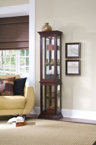 Madison Traditional Brown Wood Glass Curio Cabinets RH-21213-14-VAR
