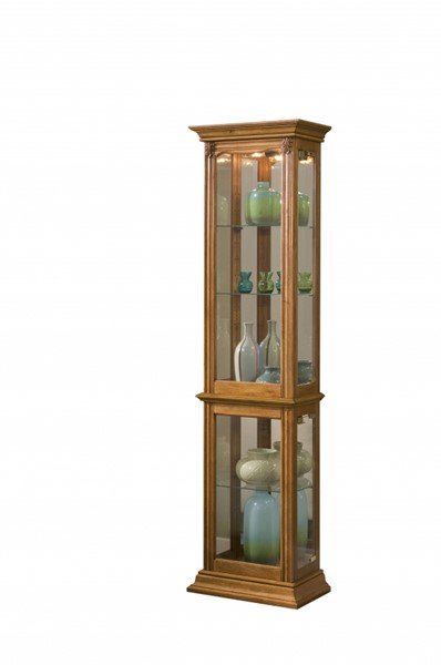 Traditional Brown Hardwood Estate Oak Mirrored Curio RH-21214