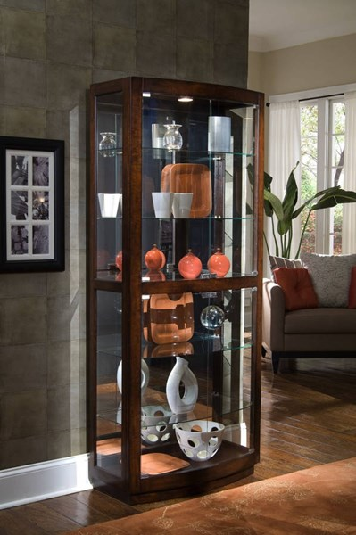 Pulaski Furniture Pacific Heights Brown Curved Front Curio