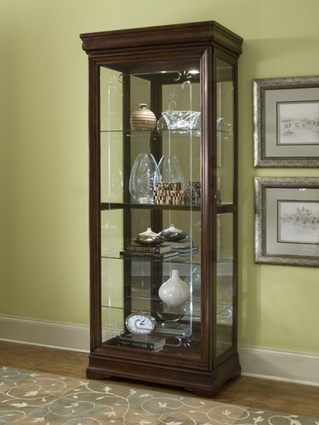 Madison Traditional Brown Wood Glass Curio w/4 Glass Shelves RH-21306