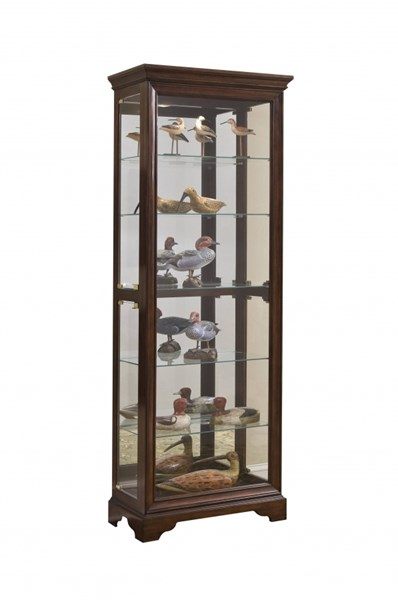 Modern Brown Hardwood Gallery Mirrored Curio RH-21308