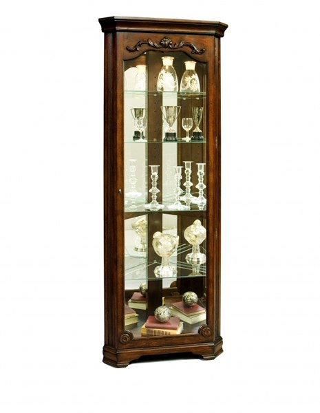 Eden House Classic Brown Hardwood Mirrored Corner Curio RH-21313