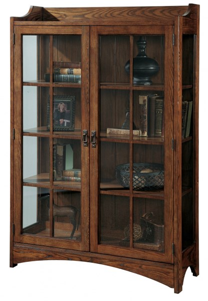 Madison Traditional Brown Wood Glass Bookcase Curio RH-21425