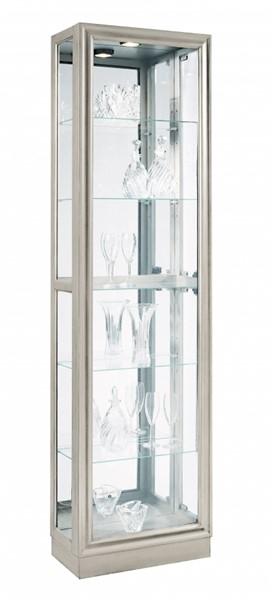 Contemporary Silver Hardwood Platinum Metallic Right Side Entry Curio RH-21455