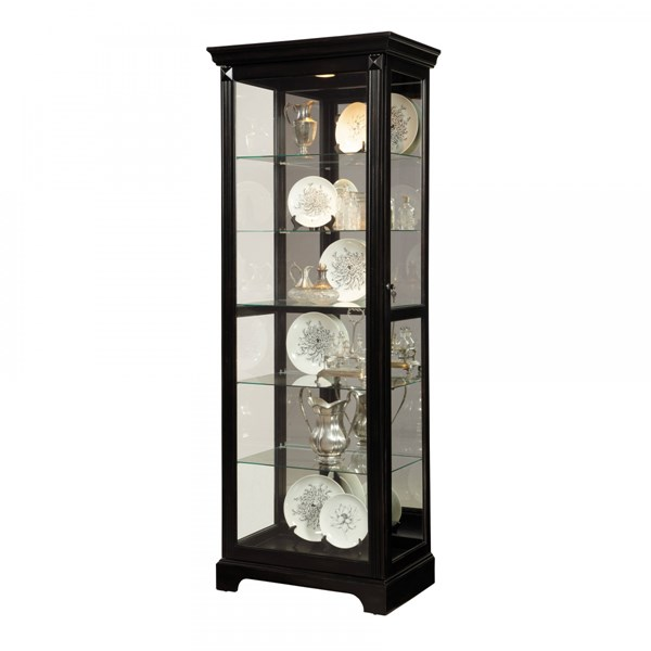 Brook View Transitional Black Hardwood Mirrored Back Curio RH-21459
