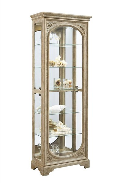 Julian Traditional Brown Hardwood Carved Mirrored Curio RH-21514