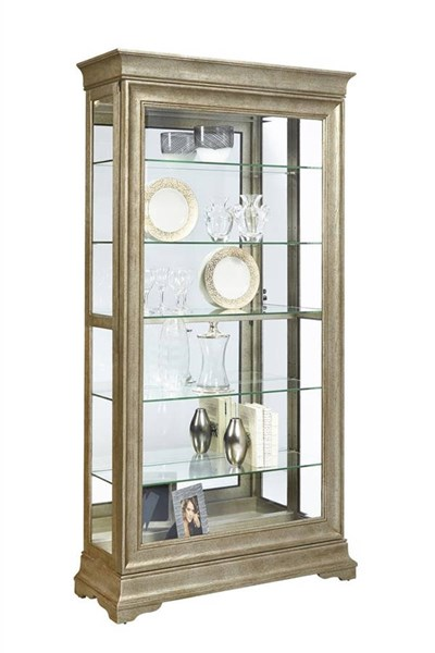 pulaski furniture lyon silver two way sliding door curio the classy home. Black Bedroom Furniture Sets. Home Design Ideas