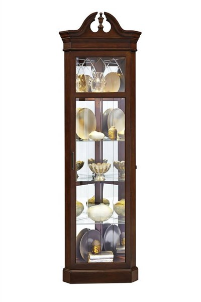 Wood Glass Metal Corner Curio w/Dark Wood Color RH-21525