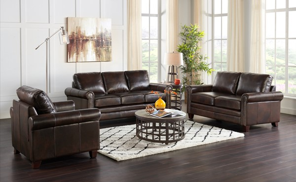 Home Meridian Brown Leather 3pc Living Room Set RH-220-A928-1712-K1