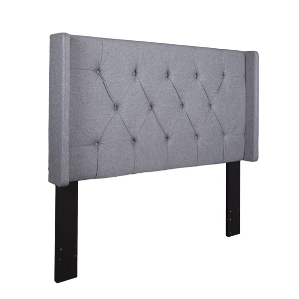 Home Meridian Grey Button Tufted King Cal King Headboard RH-320-D017-270-687
