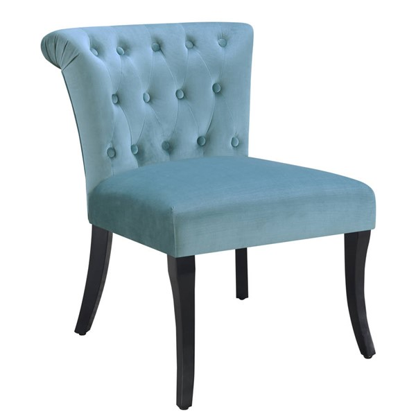 Home Meridian Sky Blue Rolled Tufted Accent Chair RH-320-DS-C133-710-2