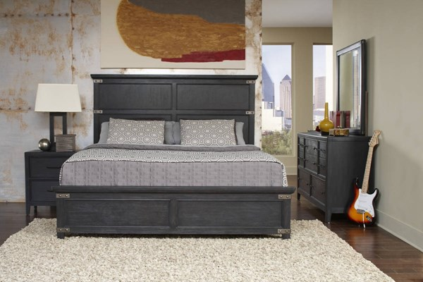 Vintage Tempo Casual Black Wood Composites Master Bedroom Set RH-4021-BR