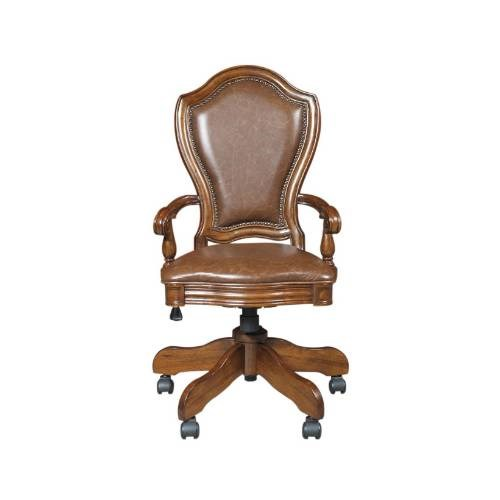 Madison Traditional Brown Wood Adjustable Seat Height Desk Arm Chair RH-4455-925