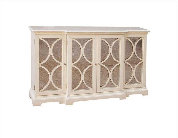 White Hardwood Antique Mirrored Door Credenza RH-517182