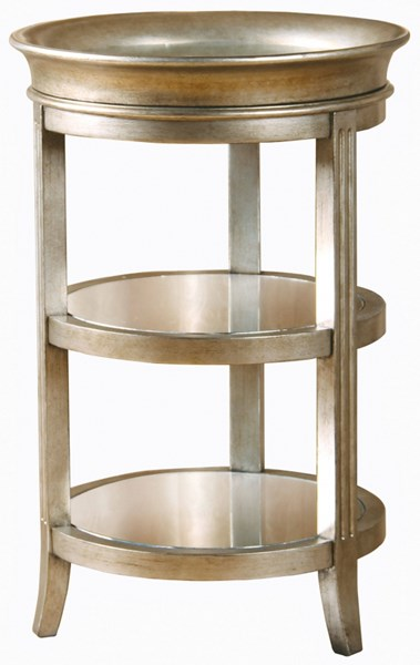 Modern Silver Hardwood Metallic Mirror Removable Tray Top Accent Table RH-549066