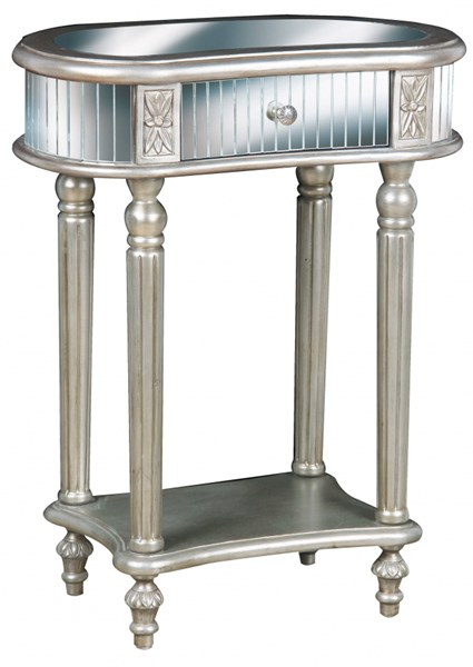 Silver Hardwood Oval Mirrored Accent Table RH-549209