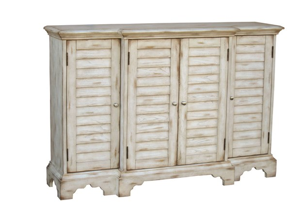 Cape Cod Traditional Weathered White Hardwood Shutter Door Console RH-597024