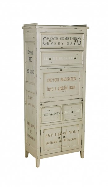 White Hardwood Hand Painted Sentiments Accent Cabinet RH-597113