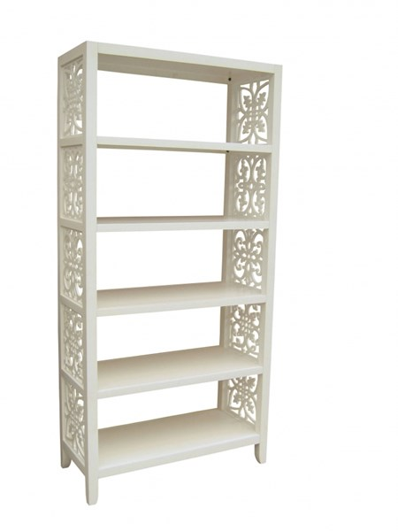 White Hardwood Fretwood Side Panel Bookcase RH-597169