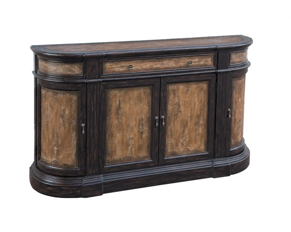 Madison Traditional Brown Wood Drawers & Doors Credenza RH-641007