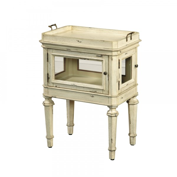 Casual Antique White Hardwood Glass Case Accent Table RH-641066