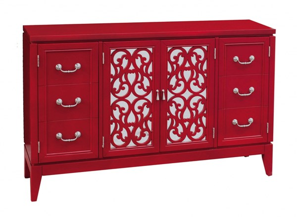 Modern Red Hardwood Randy Rouge Mirrored Door Overlay Console RH-641152