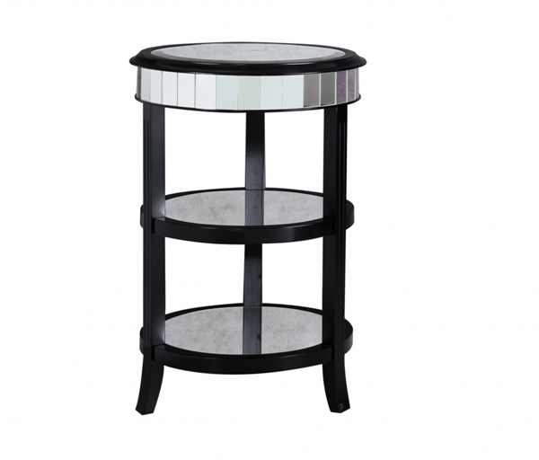 Madison Black Wood Glass Round Accent Table RH-641160