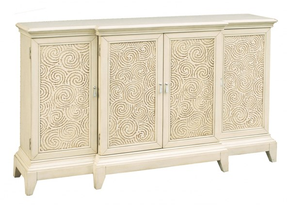 Traditional White Hardwood Brown Swirl Carved Breakfront Console RH-641167