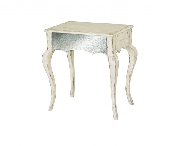 Madison White Wood Glass Rectangle Accent Table RH-641168