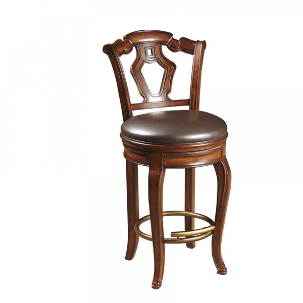 Toscano Vialetto Classic Brown Fabric Hardwood Bar Stool RH-657501