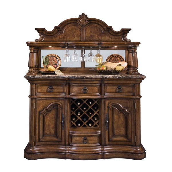 Pulaski Furniture San Mateo Brown Sideboard and Hutch RH-662-DR-K3