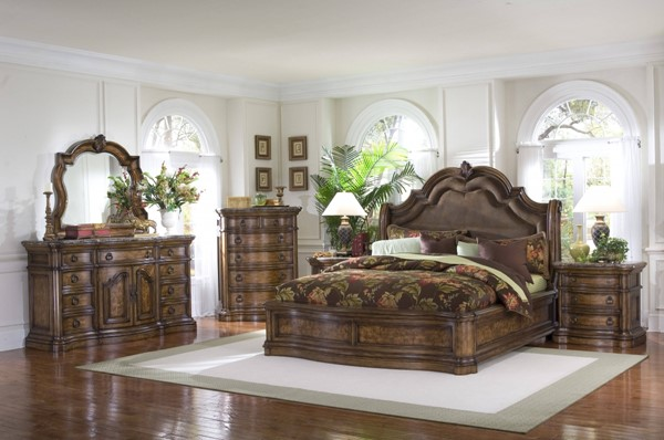 San Mateo Elegant Brown Hardwood 2pc Bedroom Set W/King Sleigh Bed RH-662150-BR-SET6