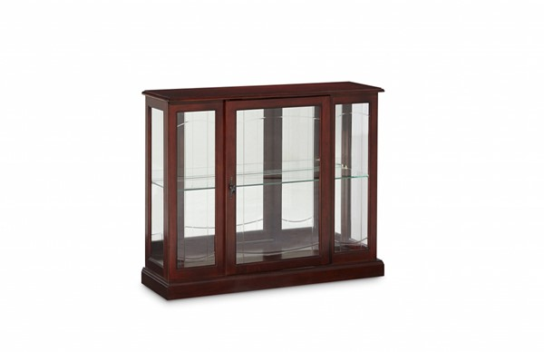 Elegant Brown Cherry Hardwood Mirrored Curio Console RH-6705