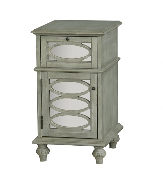 Distressed Gray Green Wood Glass Accent Chest RH-675028