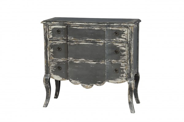 Grey Wood Accent Chest w/Saucy Cabriole Legs RH-675055