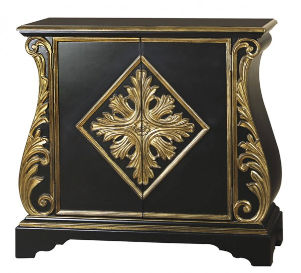 Black Gold Wood Accent Chest W/adjustable Shelf RH-675066