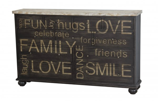 Home Meridian Brown Two Tone Words Drawer Credenza RH-675067